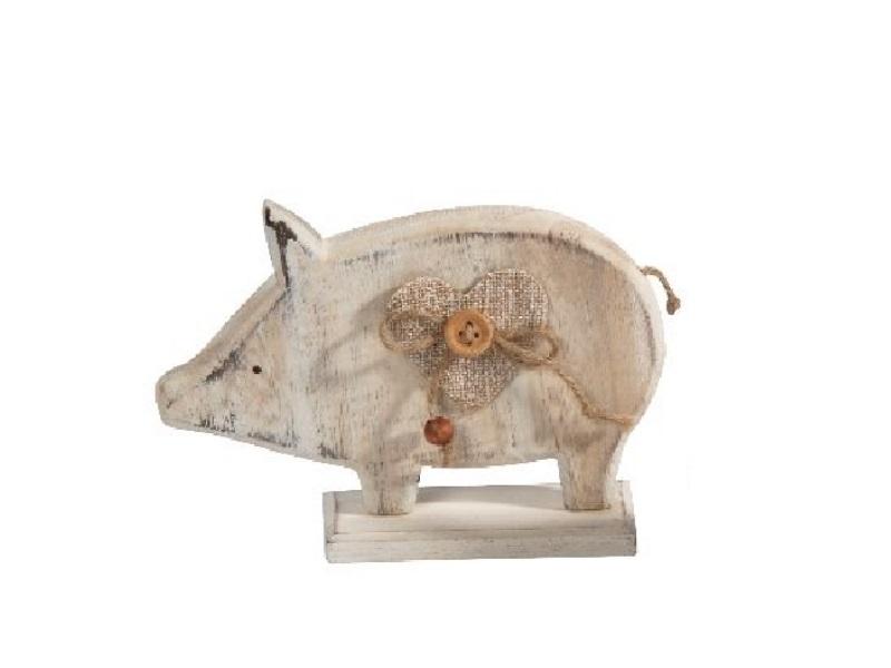2 Schweine aus Holz mit Jute WEISS 12x3,5x8cm