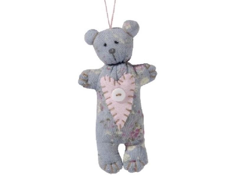 Teddy aus Stoff mit Knopf zum hängen BLAU 8x4x15cm
