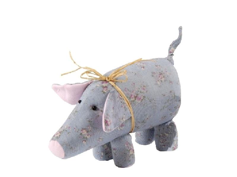 Deko-Schwein aus Stoff BLAU 22x6,5x11cm