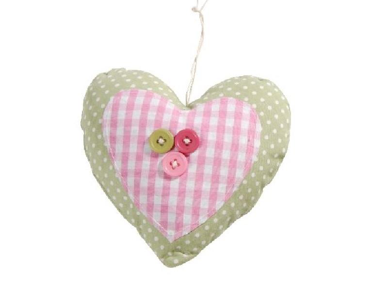 6 Herzen aus Stoff mit Knöpfen zum hängen Rosa-Grün 9x3x9,5cm