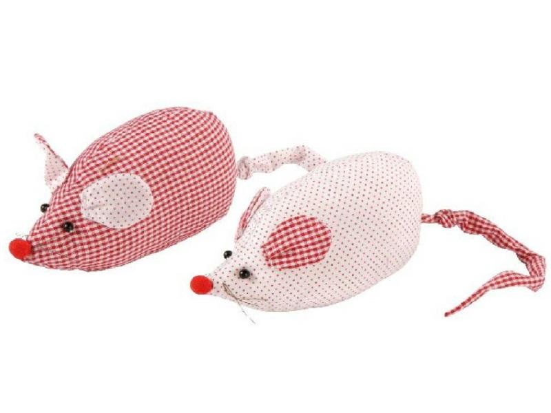 2 Mäuse aus Stoff ROT 22x6,5x9cm