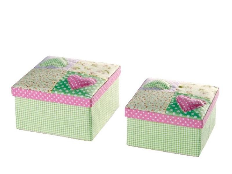 2er Set Stoffboxen mit Herzen Rosa-Grün 12x6,5/13,5x7,5cm