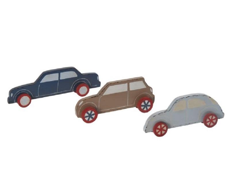 3 Deko-Auto aus Holz sortiert Rot-Weiss-Blau 22,5x3x7,5cm