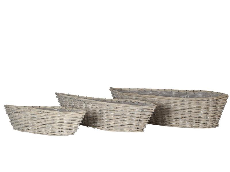 Schiffchen Set aus 3 Körbe Weide GRAU 46x13x11/56x17x13/65x20x14