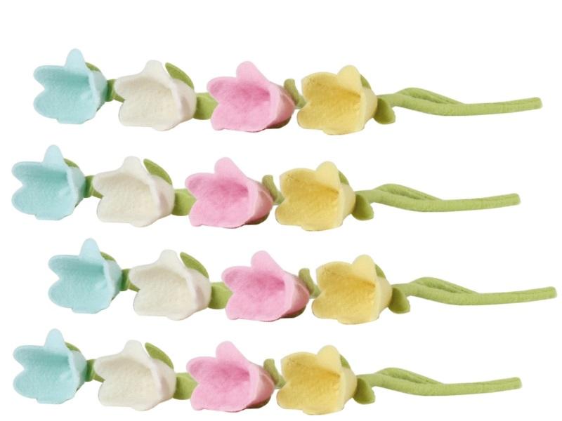 4 Stück Filzblüten Blumen 8x38cm