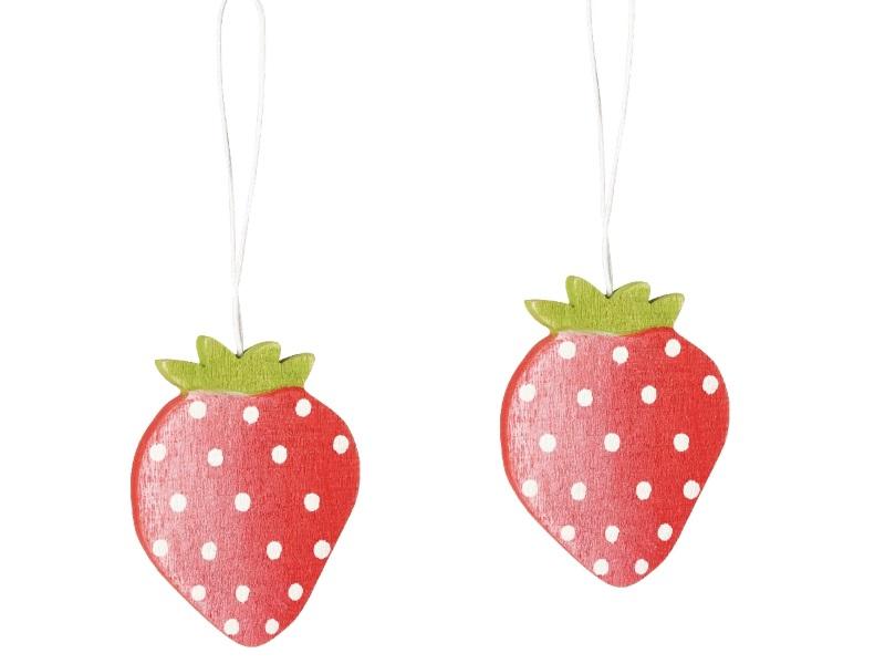 12 Erdbeere aus Holz zum hängen ROT 5x7cm