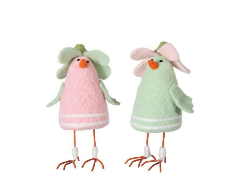 2 Hühner aus 2fach sortiert Wolle Rosa-Grün 7,5x7x18cm