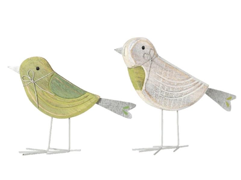 2 Vögel aus Holz stehend 2Modelle sortiert GRÜN 18x2x15