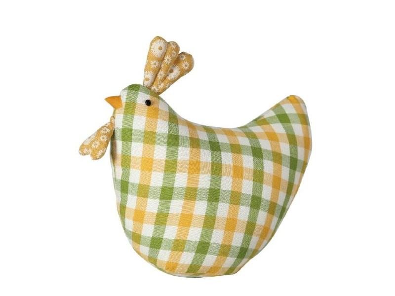 Huhn aus Stoff Karo GELB GRÜN 19x9x16cm