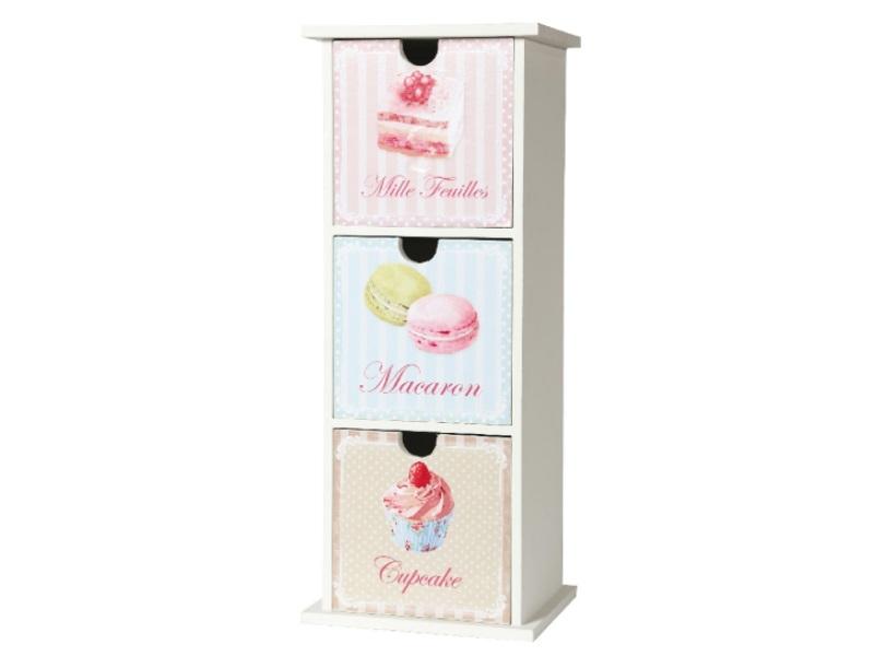 Schränkchen Cupcake 3 Fächer ROSA 13x11x33cm