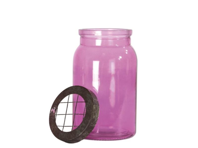 Windlicht Glas mit Metalldeckel PINK 10,5x18cm