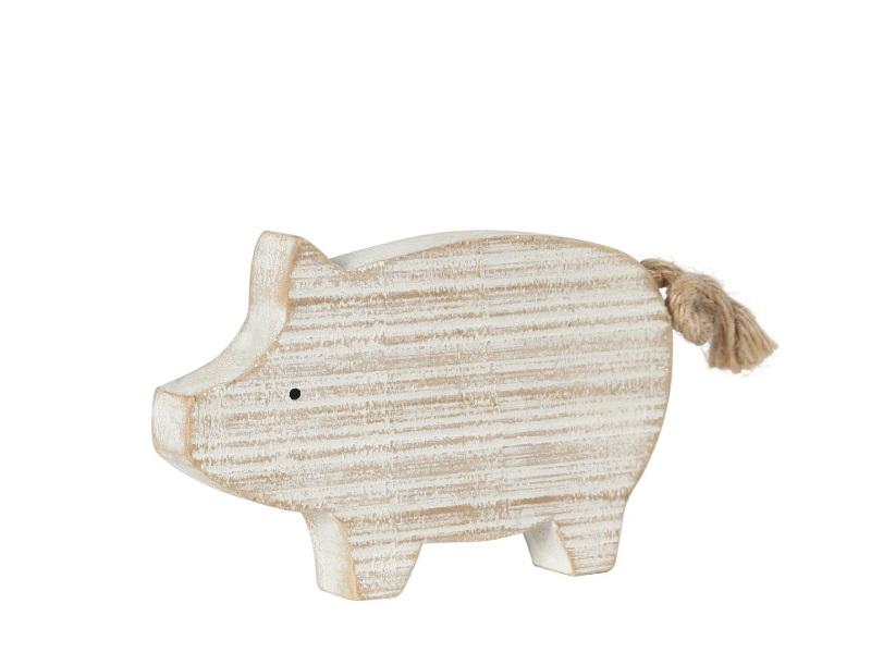 Schwein Holz weiss gewischt 12x1,5x8cm