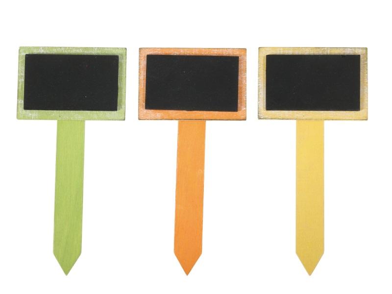 3 Gartenschilder Steckschilder Pflanzenschilder aus Holz in Grün-Orange-Gelb H17cm