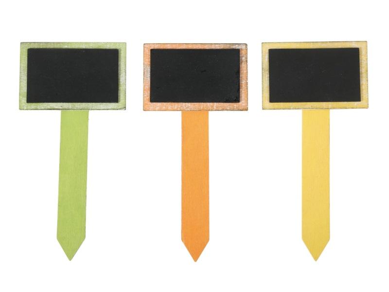 3 Gartenschilder Steckschilder Pflanzenschilder aus Holz in Grün-Orange-Gelb H21cm
