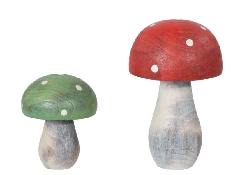 2 Pilze aus Holz sortiert ROT-GRÜN 5,5x7cm; 7x10,5cm
