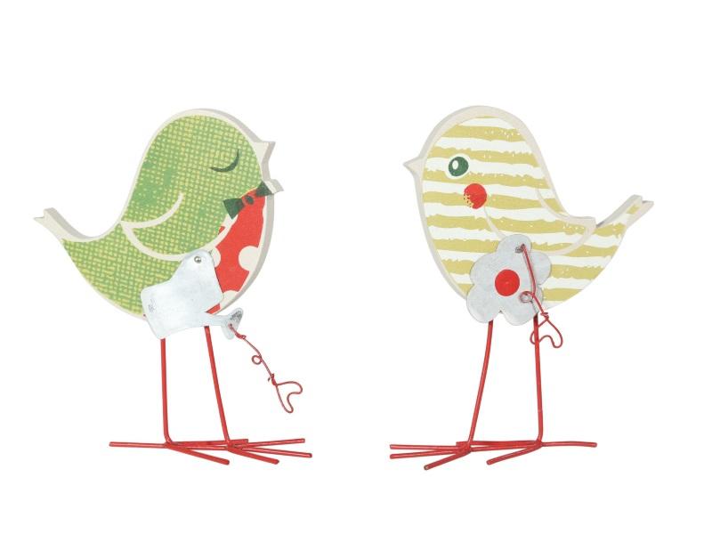 2 Vögel aus Holz 2Modelle ROT-GRÜN 9x1x12cm