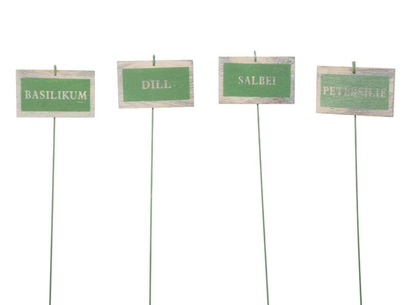 4 Kräuterstecker aus Holz 4Modelle GRÜN 8x5/24