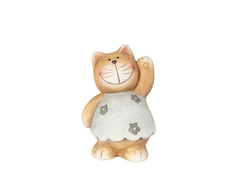 Dekofigur Katze mit Blüten CREME BRAUN 5,5x5x8cm