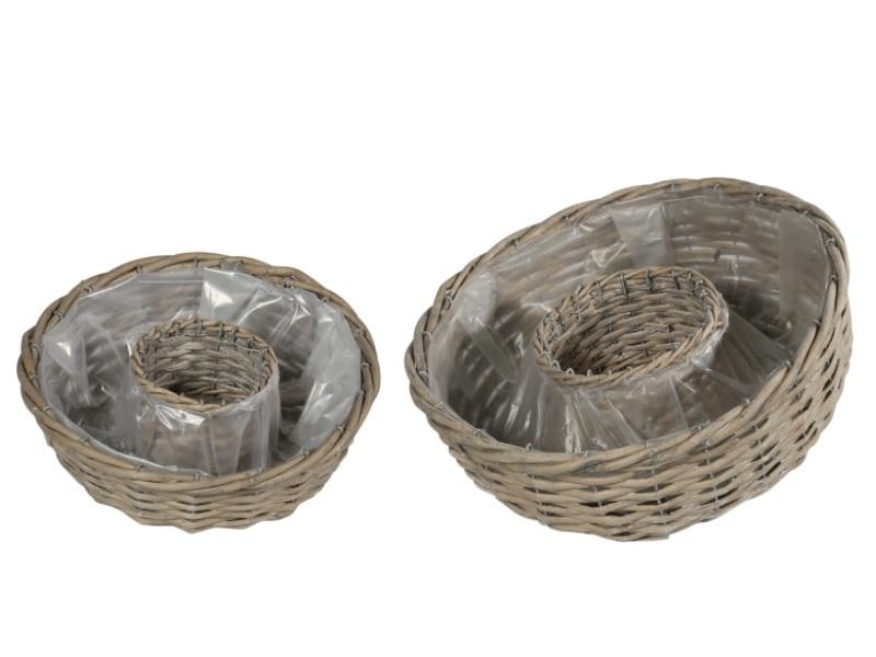 Pflanzring rund Set aus 2 Körbe GRAU 30x9cm/37x12cm