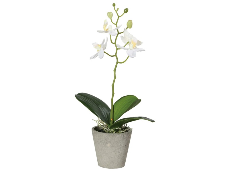 Orchidee im Topf Kunstblume GRÜN WEISS 26cm