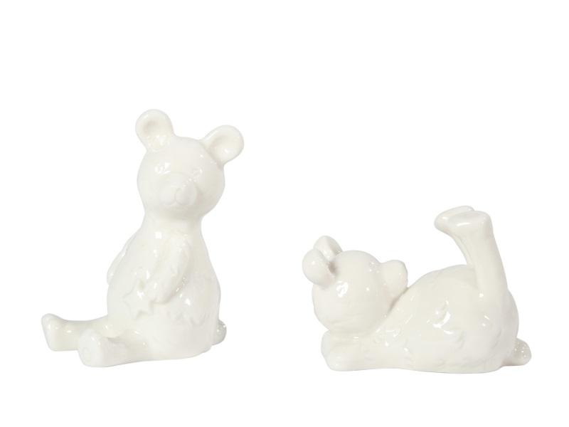 2 Teddy 2Modelle Keramik WEISS 6x4x8cm