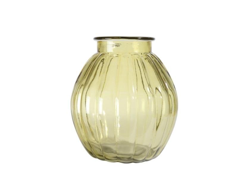Glas Windlicht GELB 14x14cm