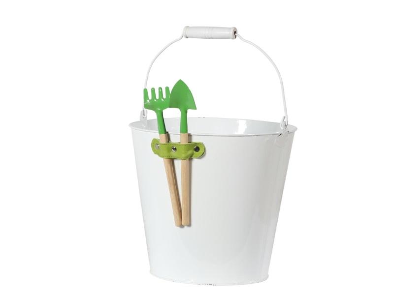 Topf Kübel Pflanzgefäß Zink mit Gartenwerkzeug GRÜN 20x19cm