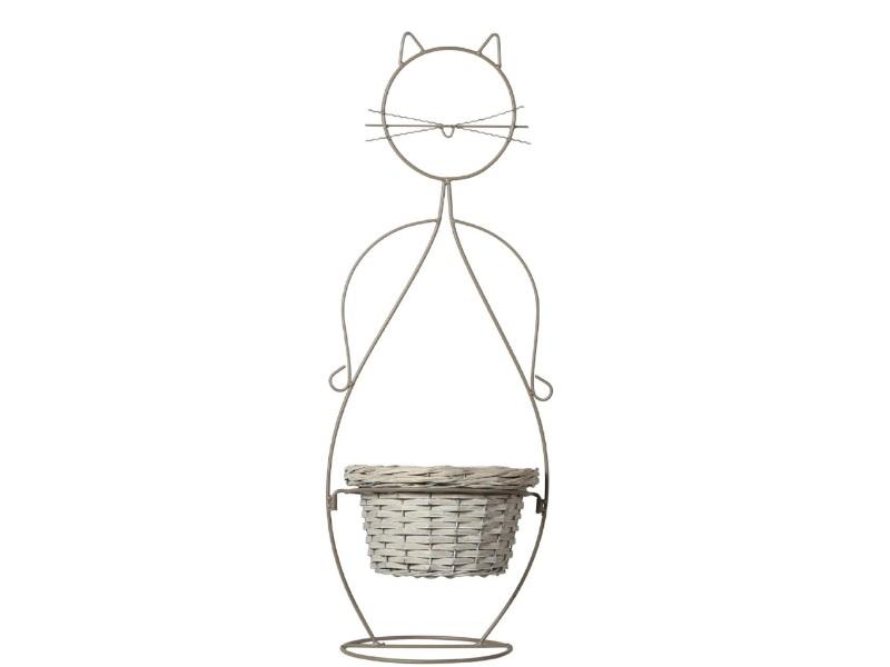 Katze Metall mit Korb GRAU 26x23x76; Korb 24x13