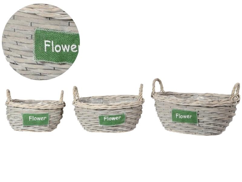 Korbschale Set aus 3 Körbe Flower mit Henkel GRAU 33x18/25:28x17/22:22x15,5/21cm