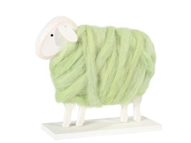 Schaf aus Holz mit Wolle GRÜN MOOS 14x4x14cm