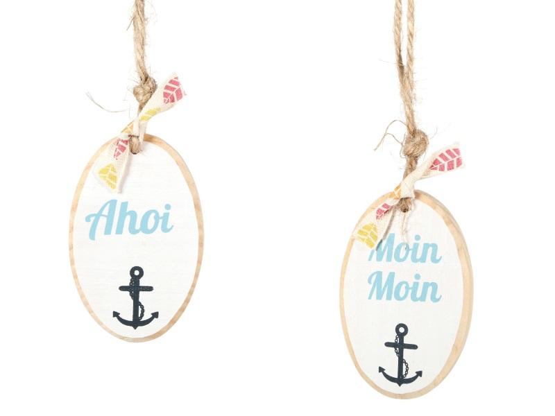 2 Schilder Ahoi und Moin moin zum hängen BLAU-WEISS 5x8cm