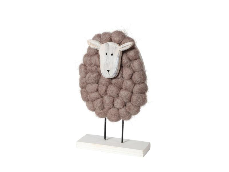 Schaf aus Holz mit Wolle BRAUN 12x4x19cm