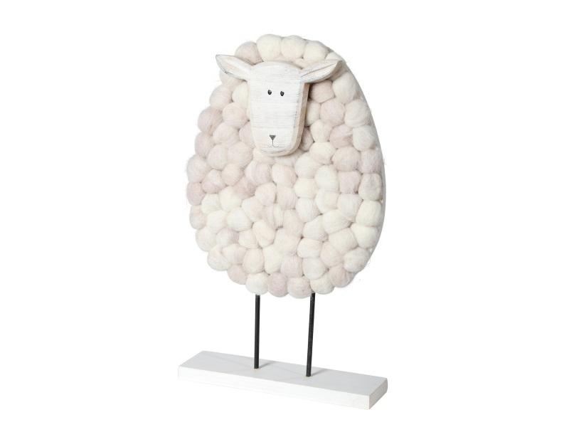 Schaf aus Holz mit Wolle CREME 18x5x30cm