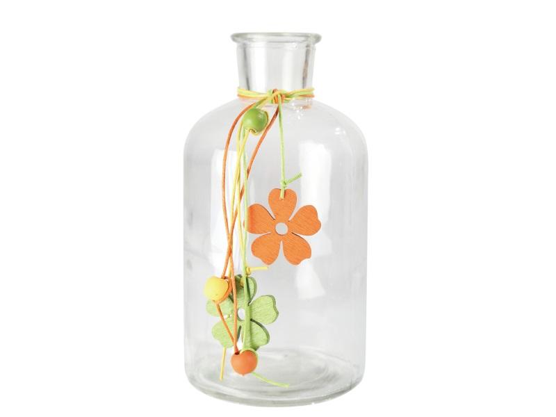 Flasche mit Blüten und Schnüre ORANGE GRÜN 8x16cm