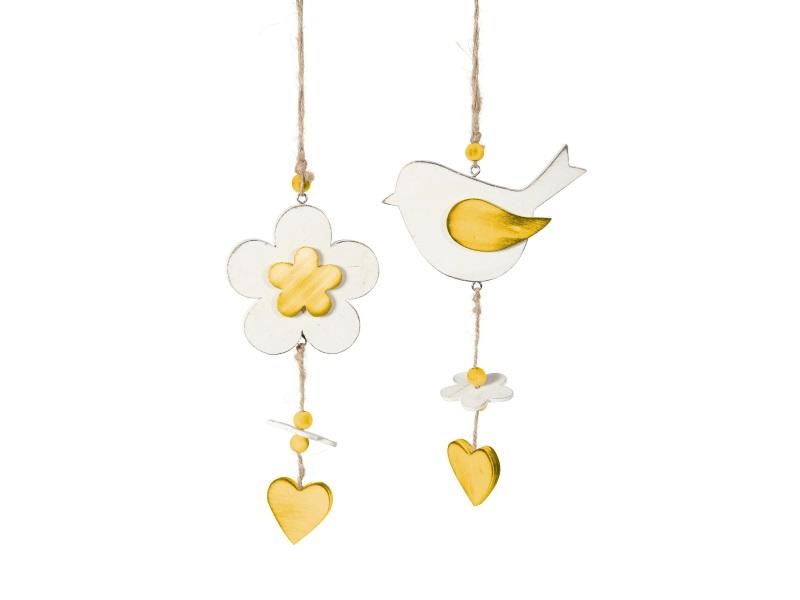 2er Set Vogel und Blüte aus Holz zum hängen GELB 12x2x21cm
