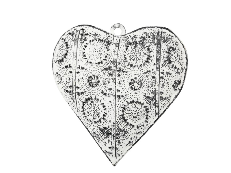 Herz aus Metall mit Muster zum hängen WEISS 15x3x16cm