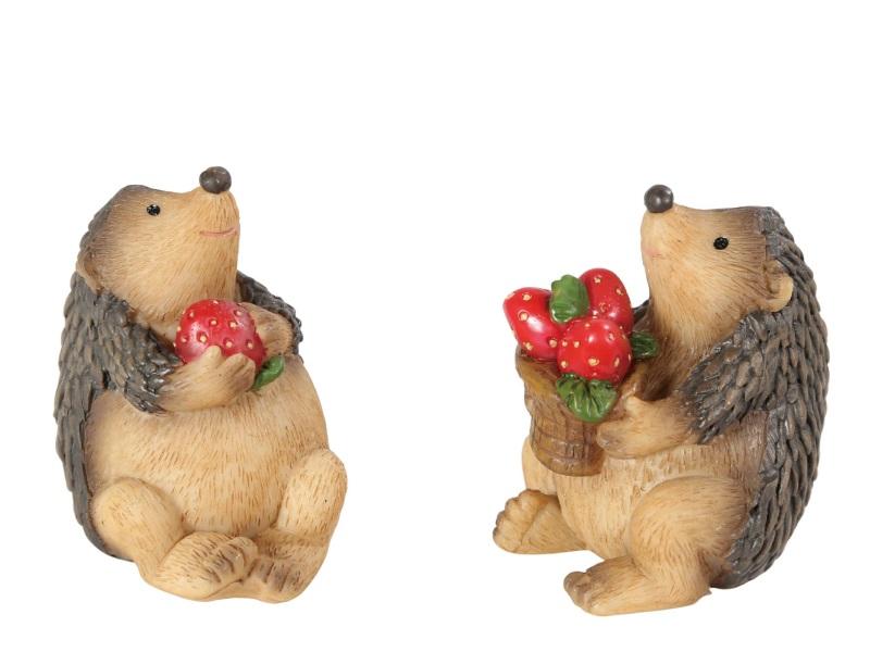 2er Set Igel mit Erdbeeren sitzend BRAUN 4x4,5x6cm