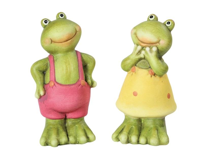 Frosch Pärchen Deko-Figuren BUNT 6x6x12cm