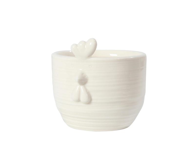 Topf Kübel Übertopf Huhn Keramik WEISS 8,5x8,5x8cm