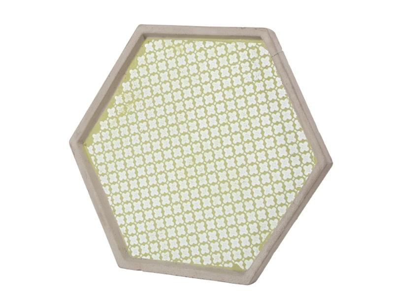Tablett Dekoteller Zement GRÜN 30x26x2,5cm