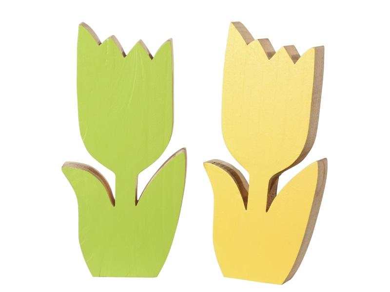 2 Blumen aus Holz Dekofigur sortieren GELB GRÜN 7,5x2x14,7cm
