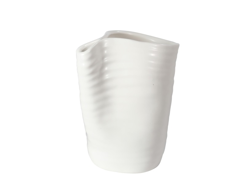 Vase Blumenvase Keramik WEISS MATT 14x8x15cm