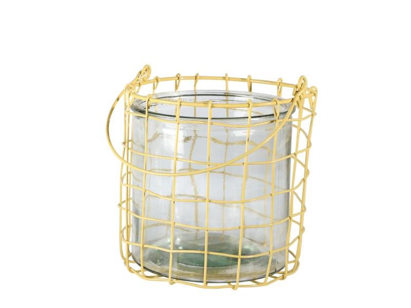 Windlicht Glas mit Draht und Metallhenke GELB 17x16cm