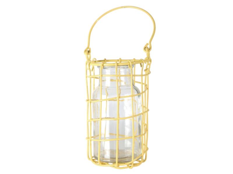 Windlicht Flasche Glas mit Draht GELB 8,5x12,5cm