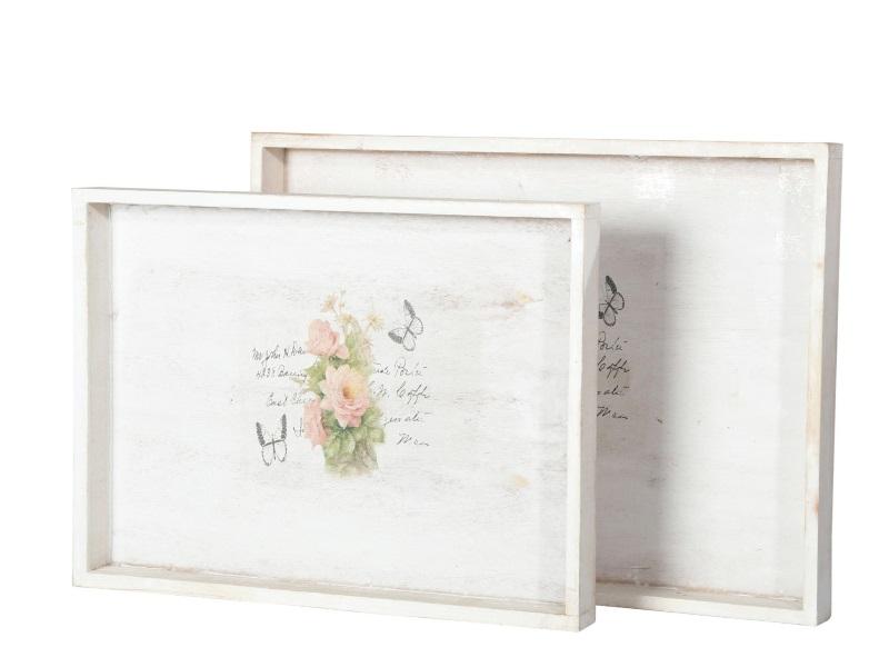 Tablett 2er Set Holz mit Rosen WEISS-ROSA 31,5x23x3;35x26x3cm