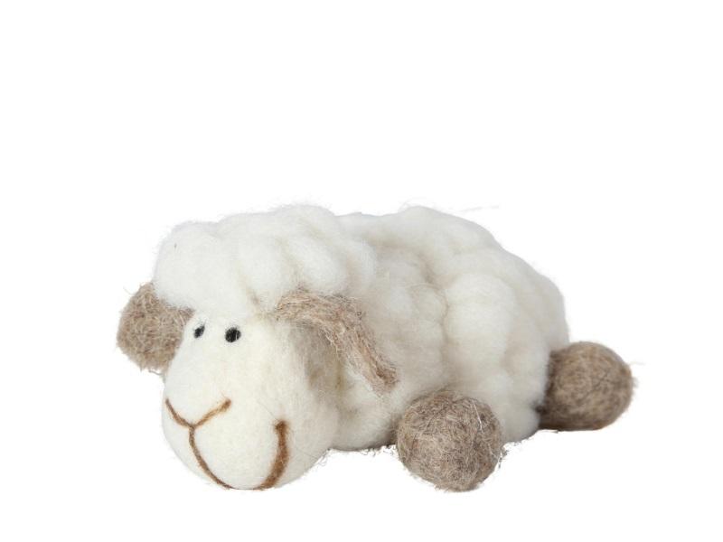 Schaf Wolle CREME 8x13x5cm