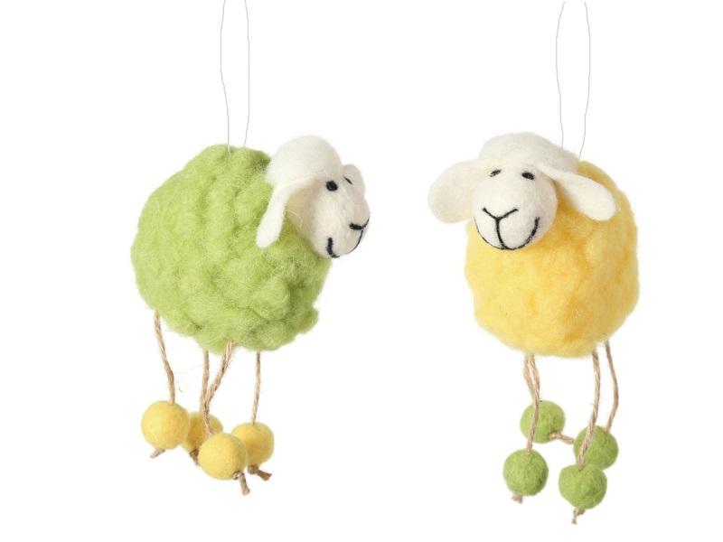 2 Schafe aus Wolle zum hängen GELB GRÜN 11x6x14cm
