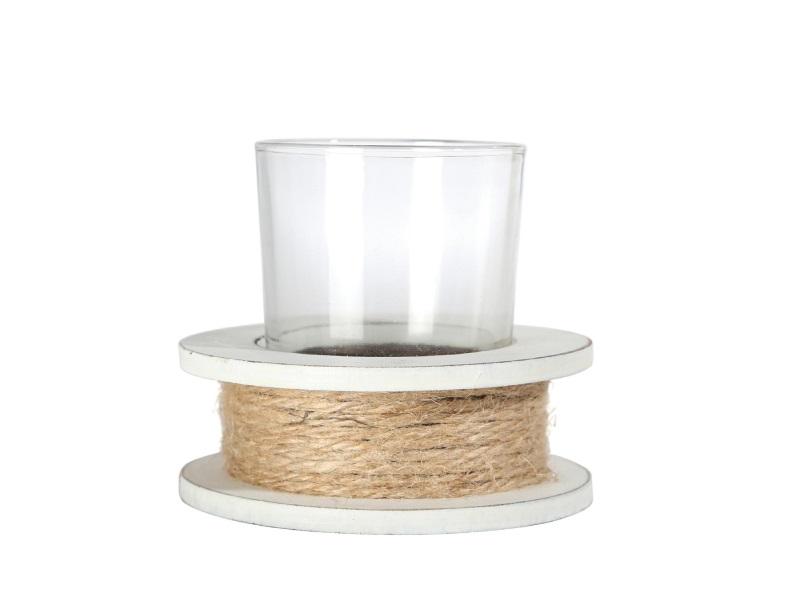 Teelichthalter Holz mit Kordel WEISS-NATUR 8,5x8,5x7cm