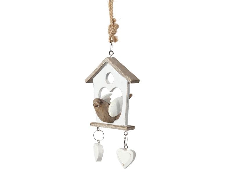 Vogelhaus mit Vogel zum hängen WEISS-NATUR 9x15x9cm