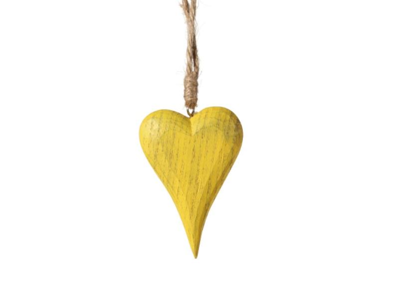 Herz aus Holz dick zum hängen GELB 7x1,8x18cm